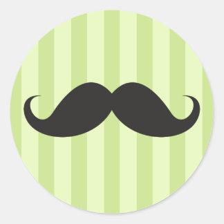 Verde negro divertido del bigote del bigote del pegatina redonda