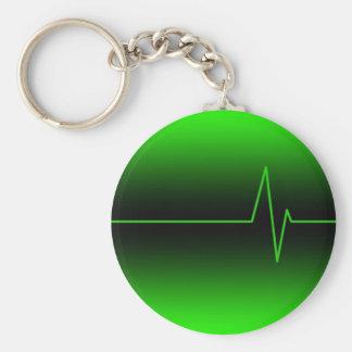 Verde negro EKG Llavero Redondo Tipo Pin