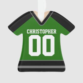 Verde/negro/jersey de encargo de plata del hockey