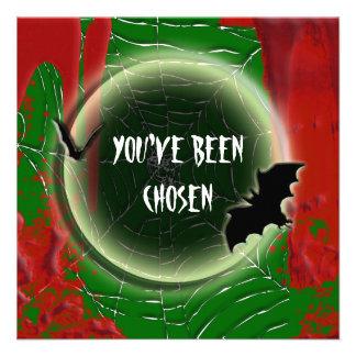 Verde negro rojo de la luna del palo de Halloween Anuncios