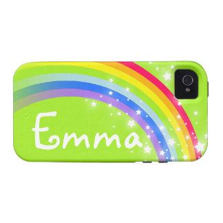 Verde nombrado del arco iris de 4 letras caso duro vibe iPhone 4 fundas