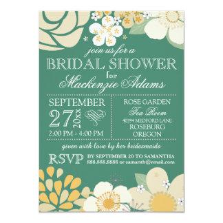 Verde nupcial floral del trullo de la ducha de la invitación 11,4 x 15,8 cm