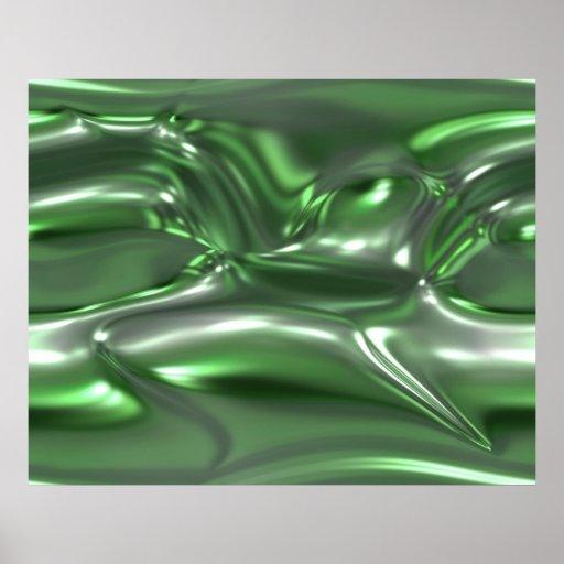 Verde orgánico de la hoja del metal fundido del ar impresiones