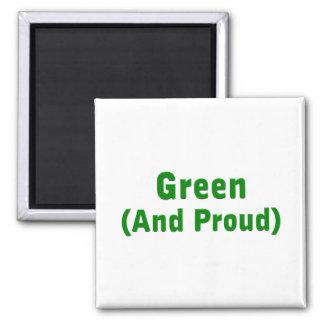 Verde orgulloso imán cuadrado