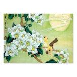 Verde oriental con las flores blancas tarjeta de visita