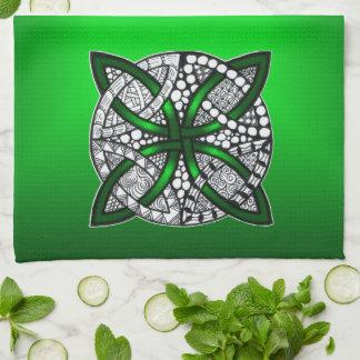 Verde original del arte del nudo céltico toallas de cocina