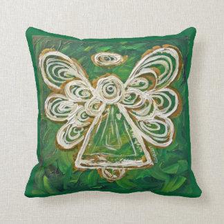 Verde, oro, almohada de tiro decorativa del ángel