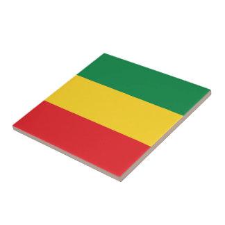 Verde, oro (amarillo) y bandera de los colores azulejo cuadrado pequeño