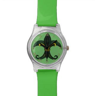 Verde/oro de la flor de lis relojes de mano