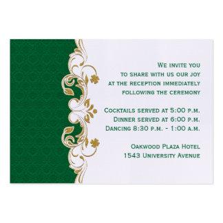 Verde, oro, tarjeta blanca del recinto de la tarjetas de visita grandes