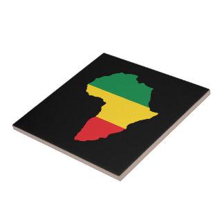 Verde, oro y bandera roja de África Azulejo Cuadrado Pequeño