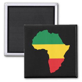 Verde, oro y bandera roja de África Imán Cuadrado