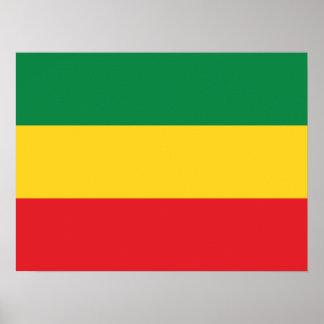 Verde, oro y bandera roja poster