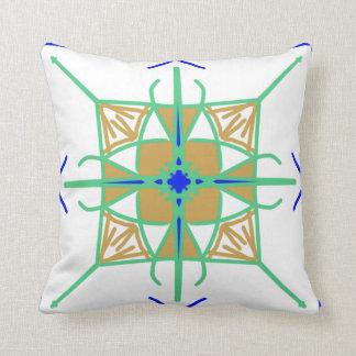 Verde, oro y modelo geométrico azul MES americano Cojín