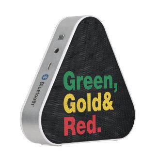 Verde, oro y rojo altavoz