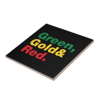 Verde, oro y rojo azulejo cuadrado pequeño