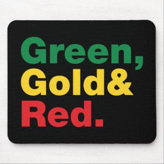 Verde, oro y rojo tapete de raton