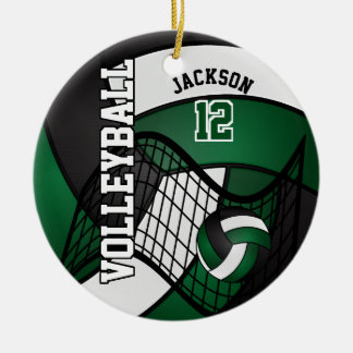 Verde oscuro, blanco y negro personalice el adorno navideño redondo de cerámica