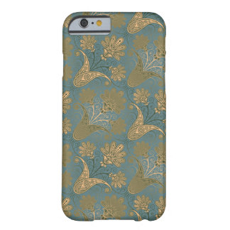 verde oscuro del trullo y damasco del oro funda para iPhone 6 barely there