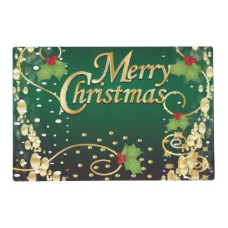 Verde oscuro festivo y oro de las Felices Navidad Salvamanteles