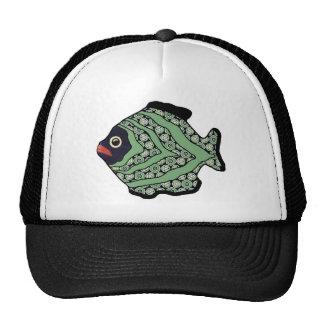 Verde oscuro tropical del quelpo Fish-03 Gorras
