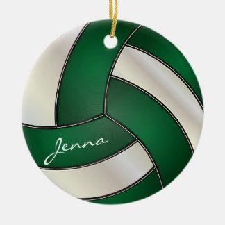 Verde oscuro y blanco personalice el voleibol adorno navideño redondo de cerámica