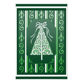 Verde oscuro y blanco remolina el árbol de navidad cojinete