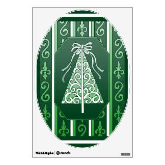 Verde oscuro y blanco remolina el árbol de navidad vinilo adhesivo
