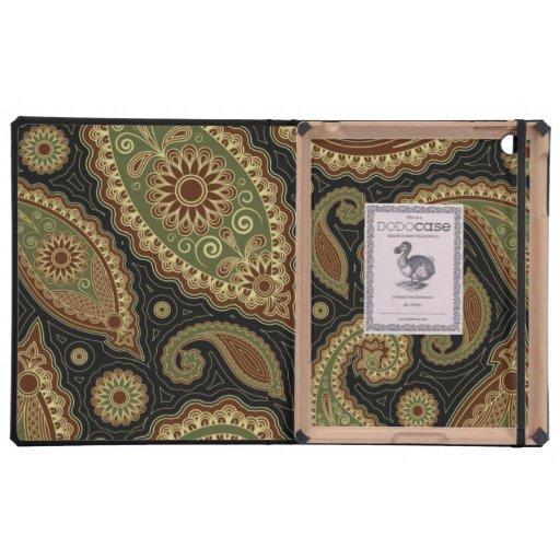 Verde oscuro y Borgoña paisley.png iPad Protector