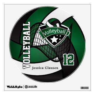 Verde oscuro y negro personalice el voleibol vinilo