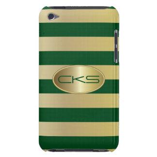 Verde oscuro y oro raya el monograma del | funda para iPod de barely there