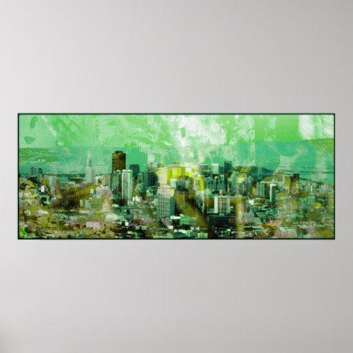 verde oxidado de la ciudad posters