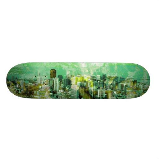 verde oxidado de la ciudad skate board