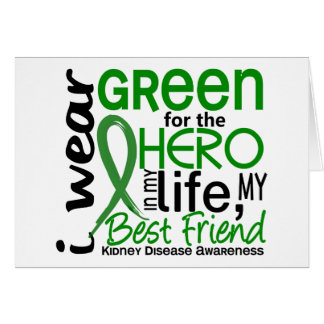 Verde para la enfermedad de riñón del mejor amigo tarjeta de felicitación