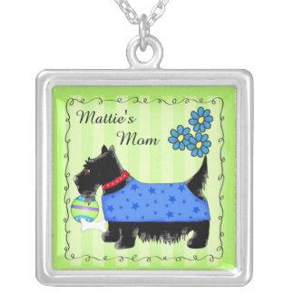 Verde personalizado nombre negro del perro de colgante cuadrado
