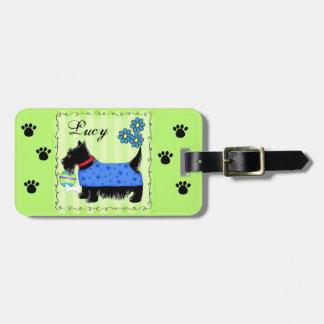 Verde personalizado nombre negro del perro de etiquetas maleta