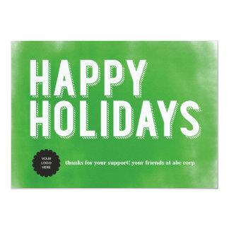 Verde pintado de los días de fiesta plano invitación 12,7 x 17,8 cm