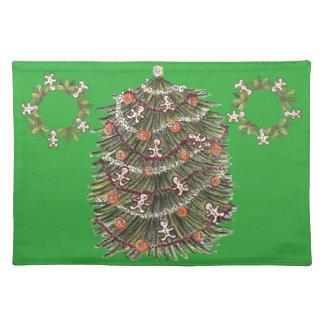 Verde Placemat del árbol de navidad del algodón Manteles Individuales