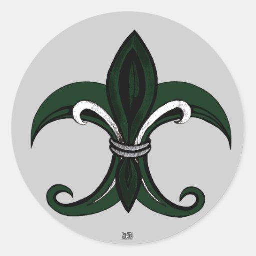 Verde/plata de la flor de lis pegatina redonda