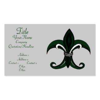 Verde/plata de la flor de lis plantillas de tarjetas de visita