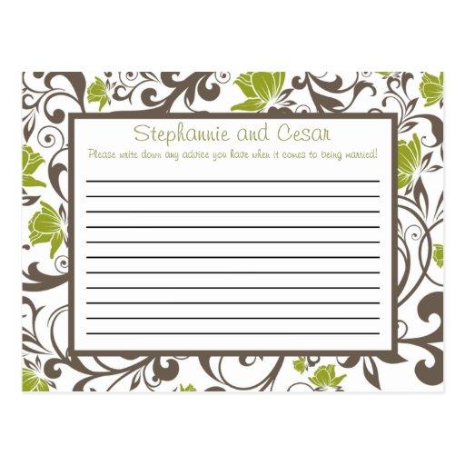 Verde programable de la tarjeta del consejo floral tarjeta postal