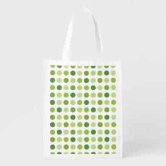 Verde punteado bolsa reutilizable