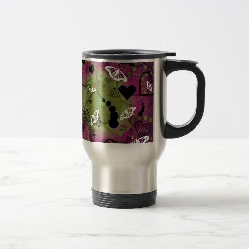 Verde púrpura de la esfera abstracta de la maripos tazas de café