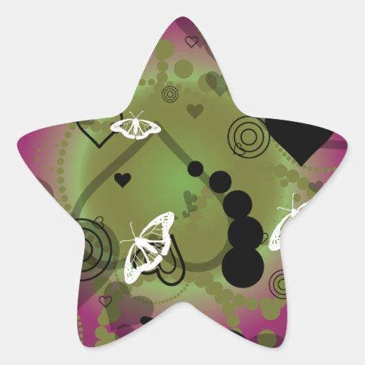 Verde púrpura de la esfera abstracta de la pegatina en forma de estrella