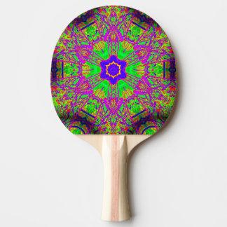 verde púrpura de la estrella del seis-punto pala de tenis de mesa