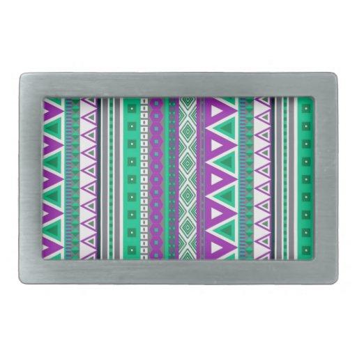 verde púrpura de las fronteras mezcladas hebillas de cinturón rectangulares