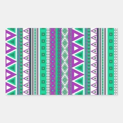 verde púrpura de las fronteras mezcladas pegatina rectangular
