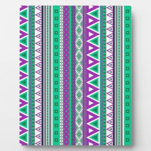 verde púrpura de las fronteras mezcladas placas con foto