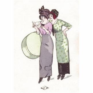 Verde púrpura de las señoras del vintage imán fotoescultura