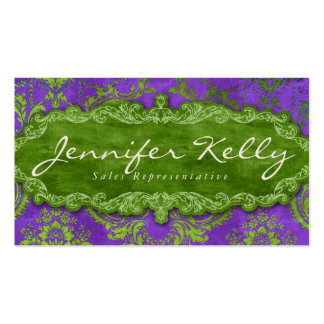 Verde púrpura del ante del damasco de la tarjeta d tarjeta personal